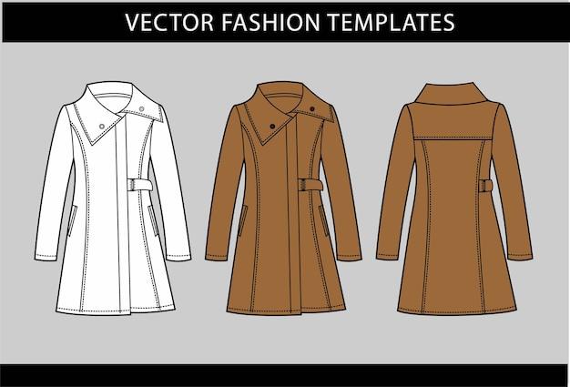 Lange damesjas fashion technische tekeningen plat