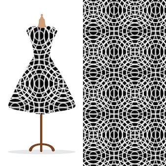 Lange damesjurk mock-up met helder naadloos handgetekend patroon voor afdrukken op textielpapier