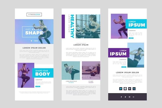 Lange e-mailsjabloon voor fitness met foto's en nieuws