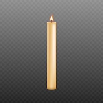 Lange en dunne gele kaars met brandende lont