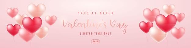 Lange horizontale valentijnsdag verkoop banner.