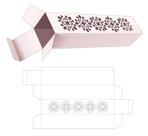 Lange kartonnen doos met gestencilde mandala gestanste sjabloon