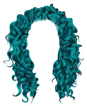 Lange krullende haren blauwe kleuren. schoonheid mode-stijl. pruik.