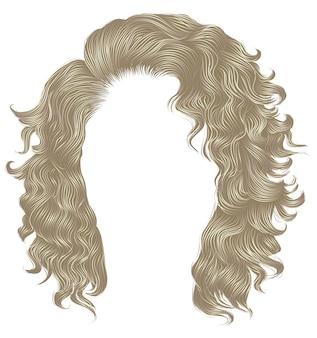 Lange krullende haren lichtblonde kleuren. schoonheid mode-stijl. pruik.