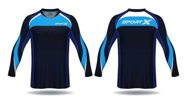 Lange mouwen voetbal jersey sjabloon. t-shirt ontwerp.