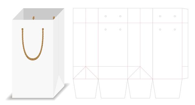 Lange papieren zak verpakking mockup met dieline