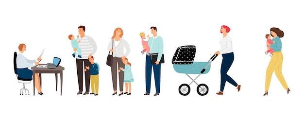 Lange wachtrij. ouders in de lange rij met kinderen tot beheerder. platte mensen vector tekens