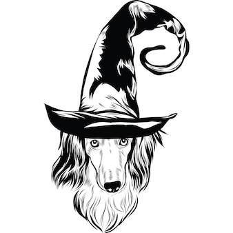 Langharige teckelhond met heksenhoed voor halloween