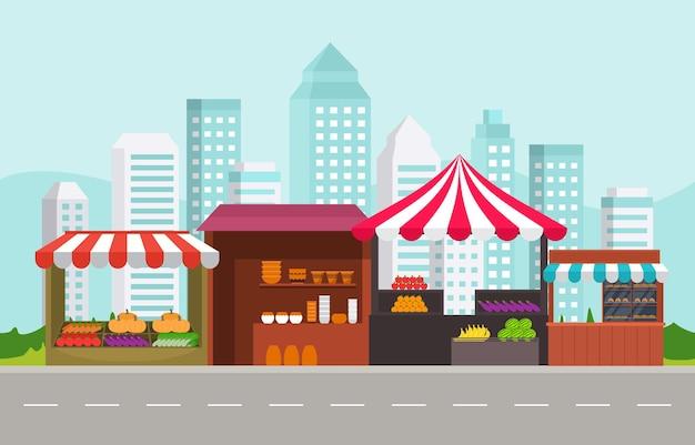 Langs de weg fruit groente winkel kraam staan kruidenier in stad illustratie