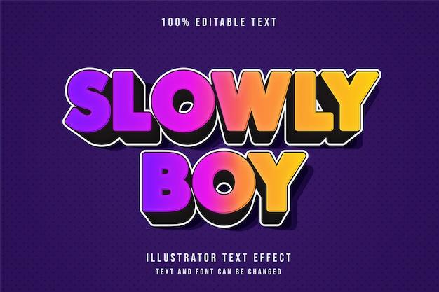 Langzaam jongen, 3d bewerkbaar teksteffect moderne paarse gradatie roze gele tekststijl