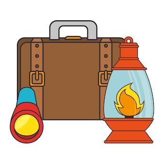 Lantaarn kamperen geïsoleerd pictogram vector illustratie ontwerp
