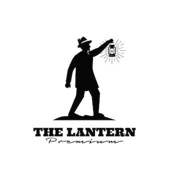 Lantaarn man vintage logo premium ontwerp