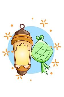 Lantaarn met ramadan eten bij mubarak cartoon illustration