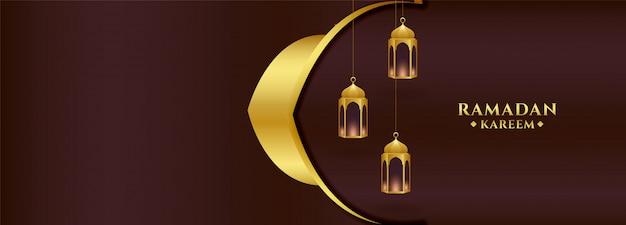 Lantaarn ontwerp ramadan kareem gouden banner