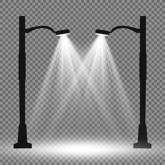 Lantaarn op de achtergrond. heldere moderne straatlantaarn. vectorillustratie. prachtig licht van een straatlantaarn.