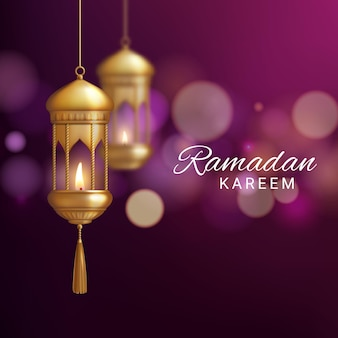 Lantaarn van ramadan kareem of eid mubarak realistische wenskaart