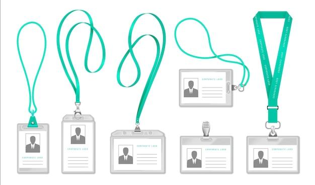 Lanyard id-kaart. identificatiekaarthouder voor toegang tot kantoor met halskoord, ontwerp van exposantenbadge.