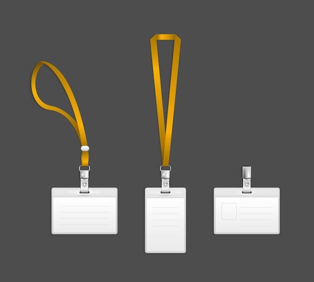 Lanyard, naamplaatje houder einde badge sjablonen vector illustratie