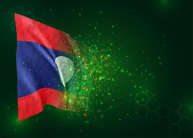 Laos, 3d vlag op groene achtergrond met polygonen
