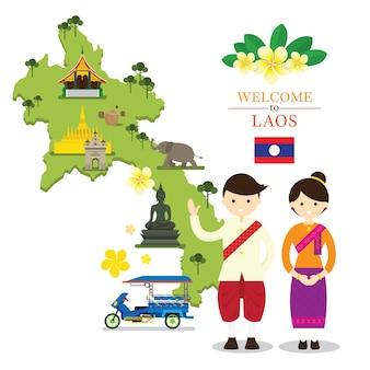 Laos kaart en monumenten met mensen in traditionele kleding