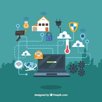 Laptop achtergrond met huiselementen verbonden met internet
