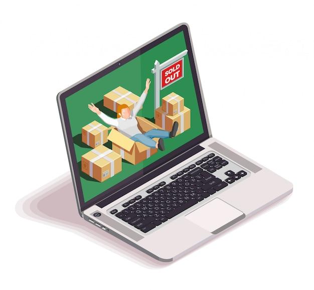Laptop bewegend mensenconcept