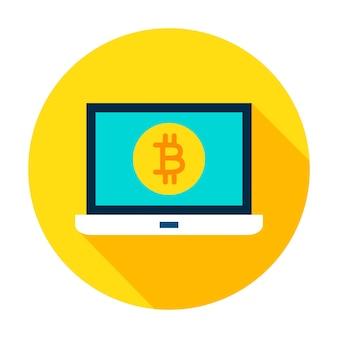 Laptop bitcoin cirkel pictogram. vector illustratie vlakke stijl met lange schaduw.