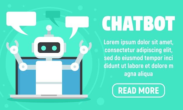 Laptop chatbot banner, vlakke stijl