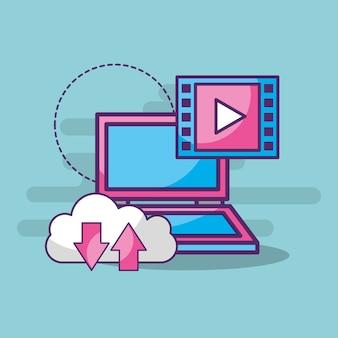 Laptop cloud opslag video speler knop