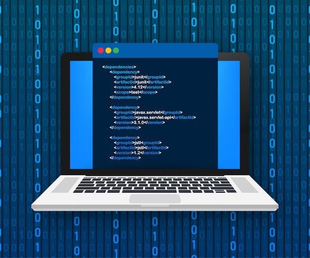Laptop codering concept. webontwikkelaar, programmeren. code voor laptopscherm. illustratie.
