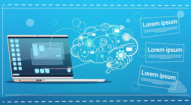 Laptop computer brainstormen briefing idee creatief concept bedrijf banner