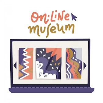 Laptop computer monitorpictogram met kunstgalerie op scherm in vlakke stijl geïsoleerd op een witte achtergrond met belettering tekst. online tentoonstellingsconcept met abstracte kunst. blijf thuis. online excursie.