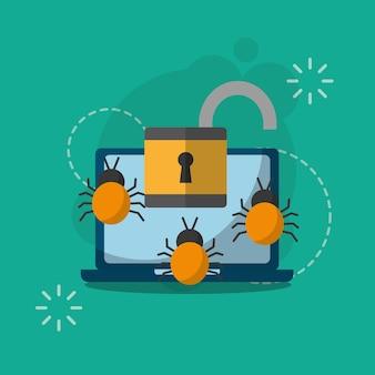 Laptop computer ontgrendeld bugs virus cyberbeveiliging