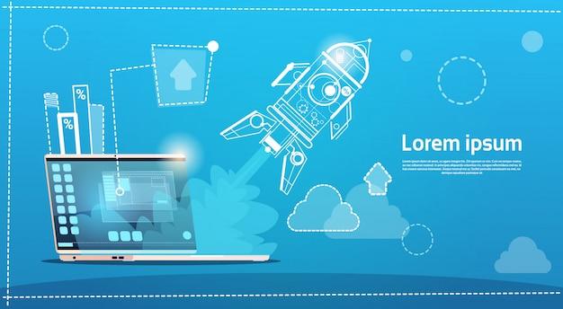 Laptop computer space rocket startup ontwikkelingsconcept
