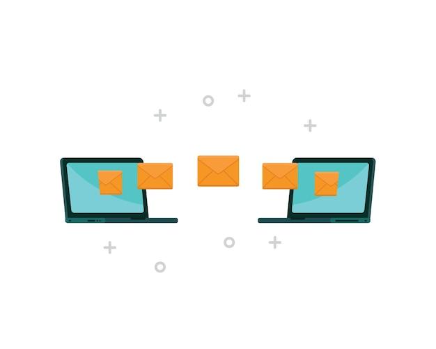 Laptop die e-mail naar anderen verzendt met een internetverbinding