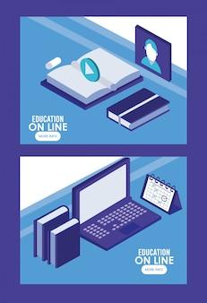 Laptop en boeken onderwijs online tech