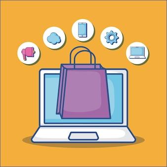 Laptop en boodschappentas