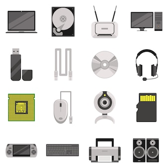 Laptop en computer met componenten en accessoires en elektronische apparaten