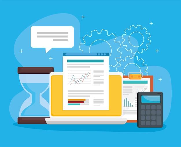 Laptop en financiële set pictogrammen