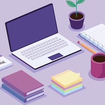 Laptop en isometrische werkruimte decorontwerp pictogrammen illustratie