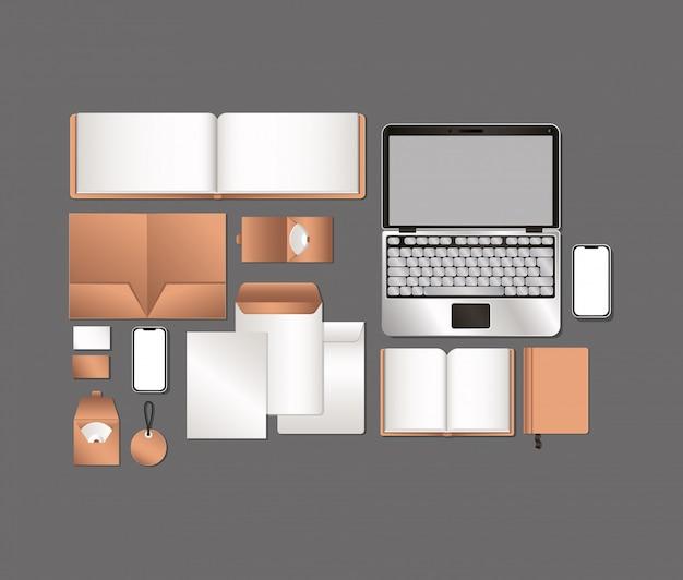 Laptop en mockup ingesteld op grijze achtergrond