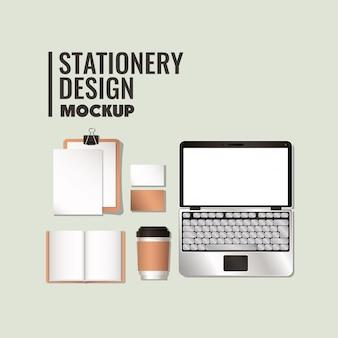 Laptop en mockup ingesteld op witte achtergrond