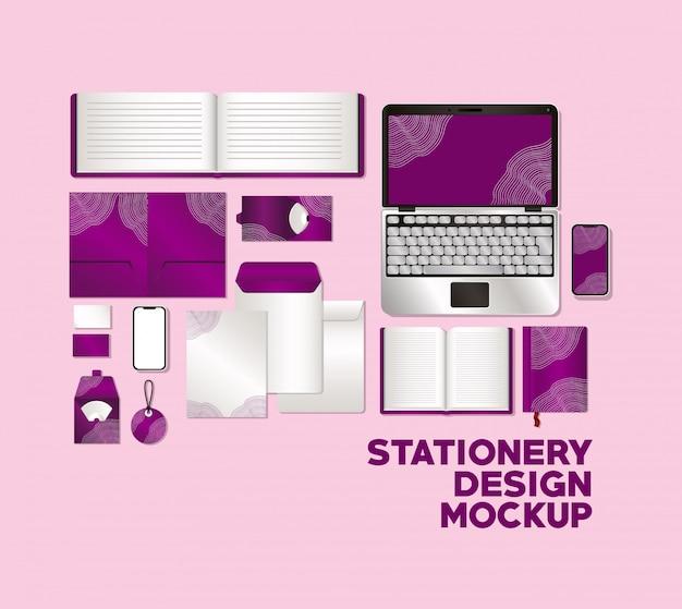 Laptop en mockup set met paarse branding
