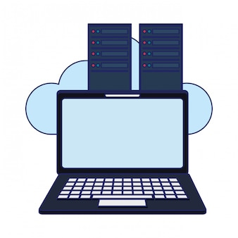 Laptop en servers cloud computing