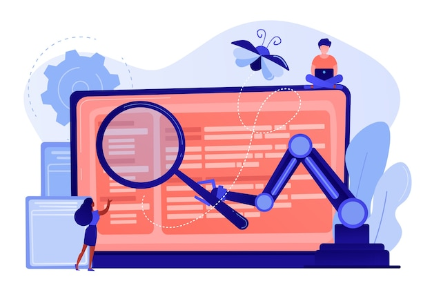 Laptop en software helpen bij het testproces, testers voor kleine mensen. geautomatiseerd testen, auto-uitgevoerde test, software auto tester concept