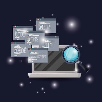 Laptop en stel programmavensters in voor het programmeren van taalcodes