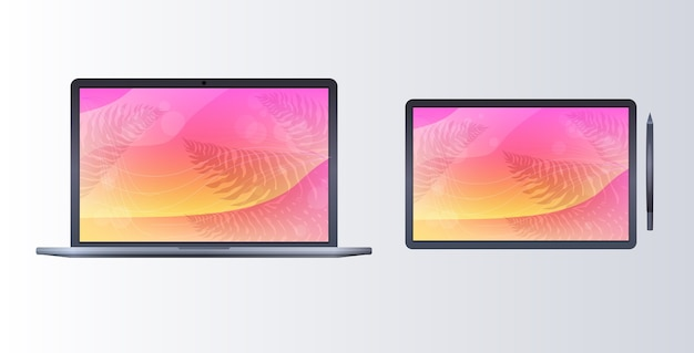 Laptop en tablet met gekleurde schermen realistische mockupgadgets en apparatenconcept