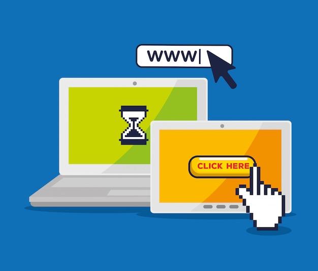 Laptop en tablet met muisaanwijzer pixel cursor