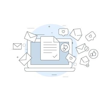 Laptop en vliegende enveloppen