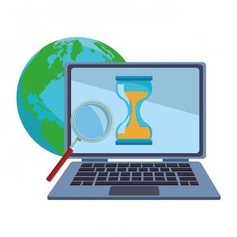 Laptop en werk rond de wereld